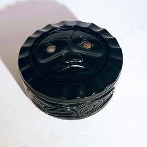 Other - #V8 Vintage Black Carved Round Trinket Box